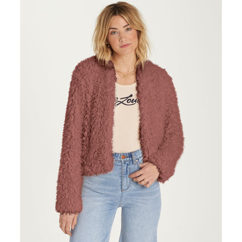 Billabong Women's Fur Keeps Faux Fur Cozy Cropped Jacket | Ash Rose