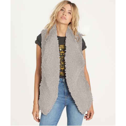 Billabong Women's Furever Love Faux Fur Vest | Coconut Shell