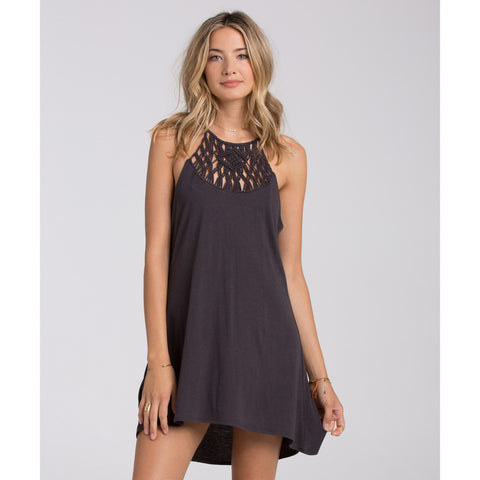 Billabong Women's Happy Place Macrame High Neck halter Dress | Off Black