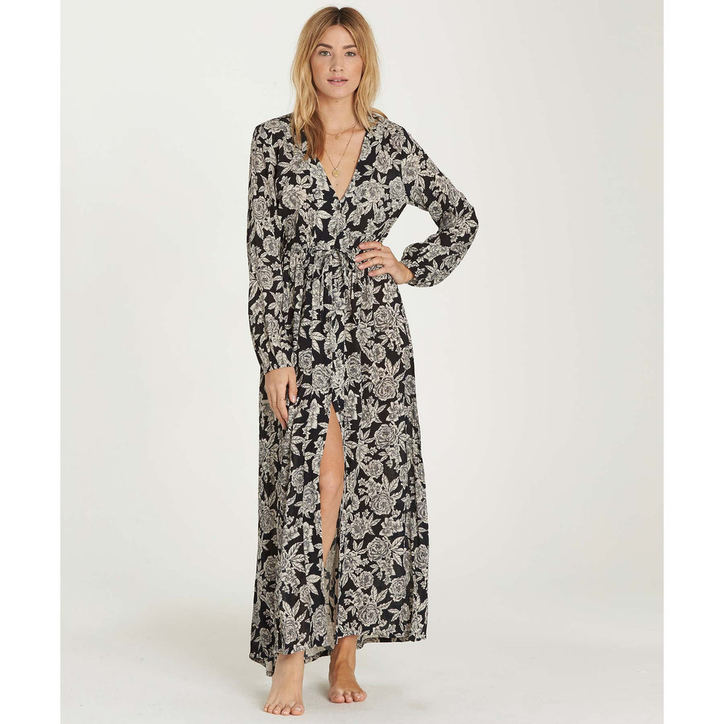 Billabong Women's Allegra Bohemian Kimono Wrap/Maxi Dress | Black/White Floral Print