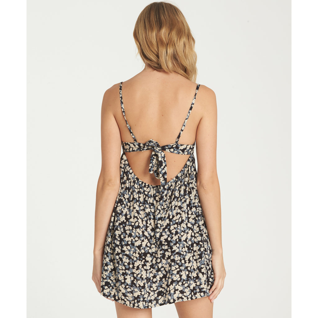 Billabong Women's Florida Fever Strappy Floral Print Sun Dress | Blue Stream, Faded Rose