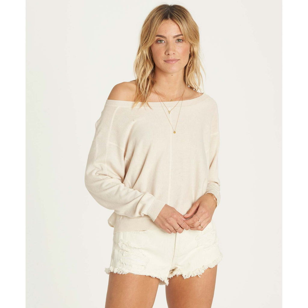 Billabong Women's No Regrets Dolman Sleeve Wide Neckline Sweater | White Cap