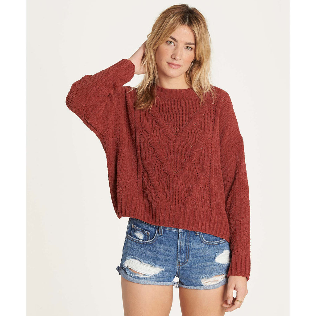Billabong Women's All Mine Super Soft Chenille Cable Knit Sweater | Henna
