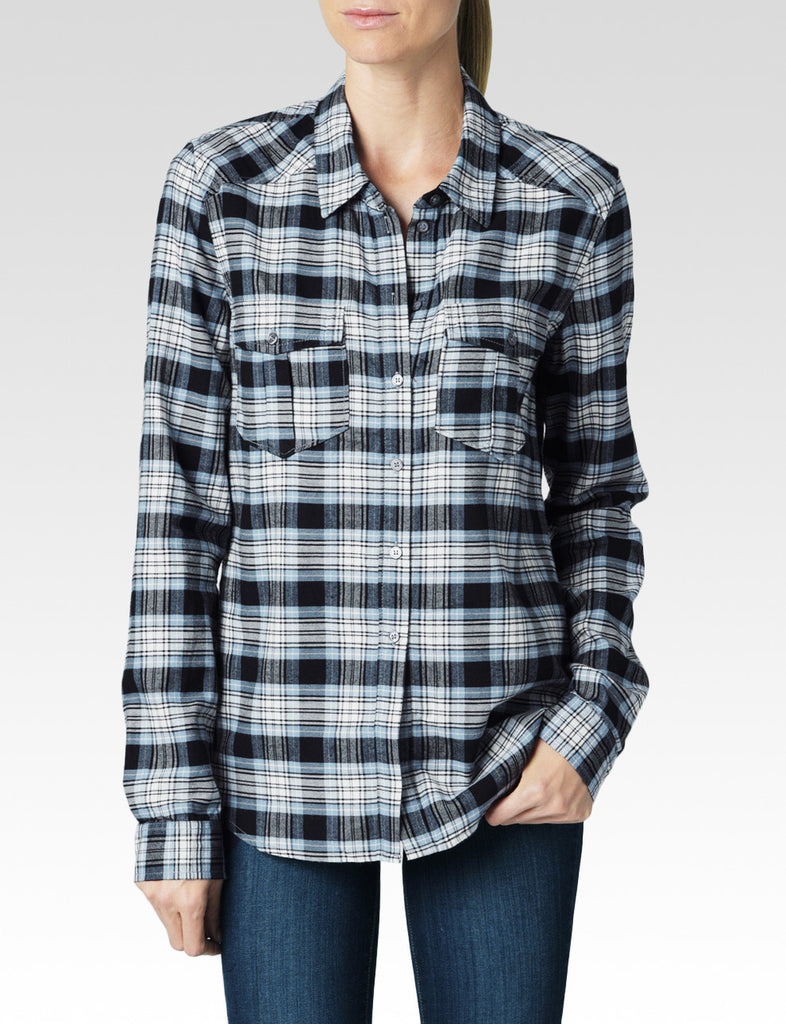 Paige Denim Mya Shirt | Misty Blue & Black Carlton Plaid | SALE