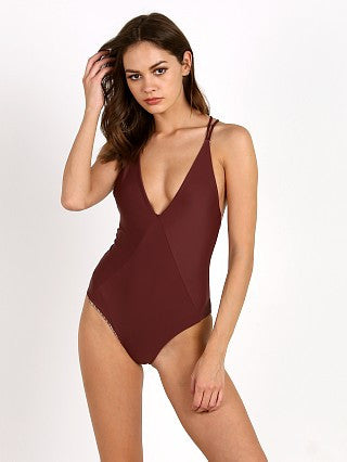 Indah Rainey Medium Coverage One Piece Swimsuit | Merlot