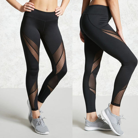 Hight Waist Yoga Pants Women Sport Leggings Stretch Mesh Patchwork Sport Trouser #E0