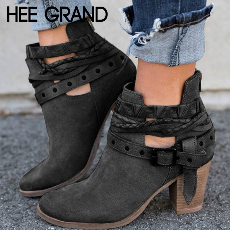 HEE GRAND Buckle Strap Women Ankle Boots Casual Platform Shoes Woman High Heels Western Boots Slip On Winter Women Shoes XWX6884
