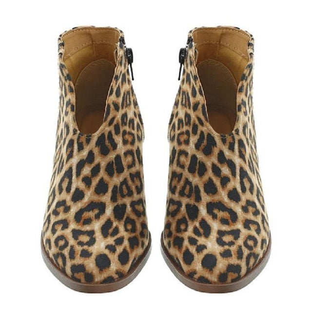 Women Shoes Fashion artificial PU Leopard Autumn Winter Shoes Ankle Boot Casual Outside Round Toe Low Heel Zipper Shoes