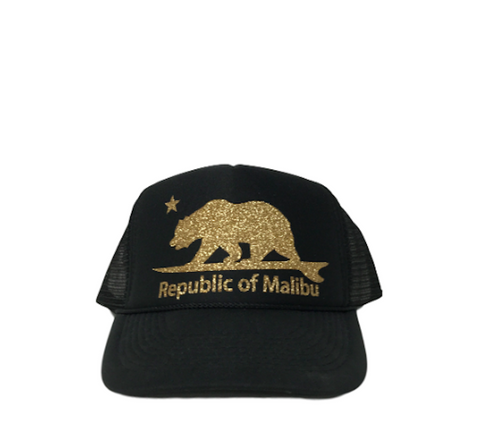 REPUBLIC OF MALIBU Sparkle Trucker Hat by PCA | Black/Gold