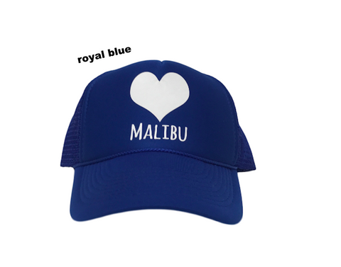 HEART OF MALIBU Trucker Hat by PCA | Navy | Royal Blue | Green | Black/Red | Black/Purple