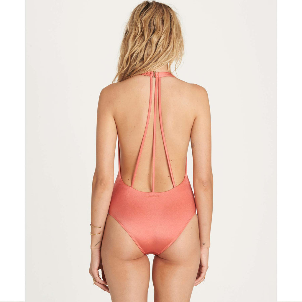 Billabong Women's Sol Searcher Deep V One Piece Swimsuit | Rose Blush