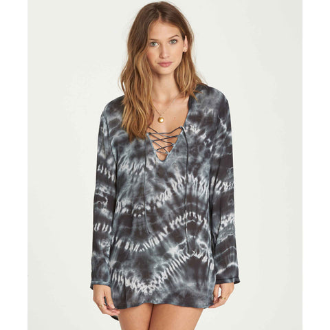 Billabong Women's Same Story Hooded Cover Up|Black White