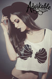 BLACK MerVamp Seashell Crop Top
