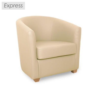 Express Cannes Cream Faux Leather Tub Chair