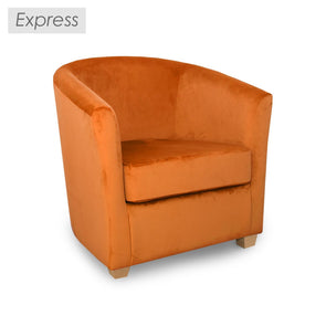 Clearance - Ex Display Cannes Fabric Tub Chair in Plush Burnt Orange Velvet