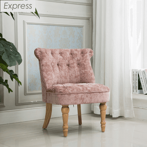 Express Coniston Blush Plain Velvet Fabric Accent Chair