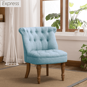 Express Coniston Duck Egg Plain Linen Fabric Accent Chair