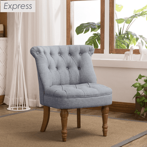 Express Coniston Plain Mercury Linen Fabric Accent Chair