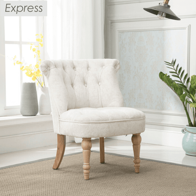 Express Coniston Plain Pearl Velvet Fabric Accent Chair