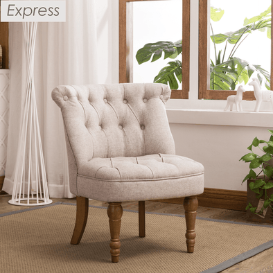 Express Coniston Plain Stone Linen Fabric Accent Chair