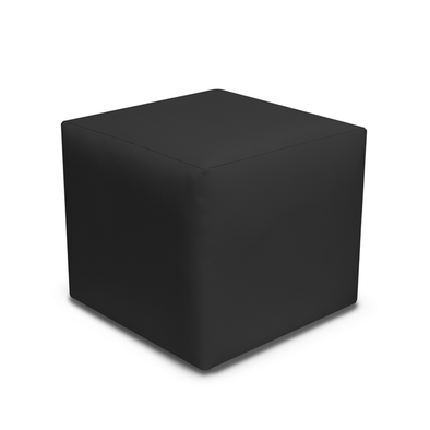 Special Offer - Paris Black Faux Leather Cube Footstool