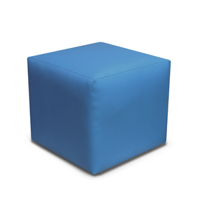 Paris Faux Leather Cube Footstool - 3 Blue Colours