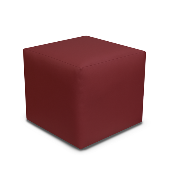 Paris Bordeaux Faux Leather Cube Footstool