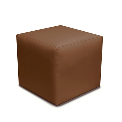 Paris Brown Faux Leather Cube Footstool