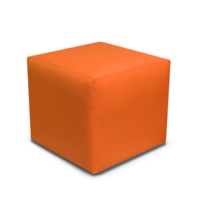 Paris Orange Faux Leather Cube Footstool