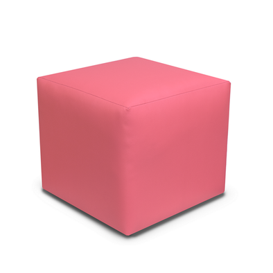 Paris Pink Faux Leather Cube Footstool