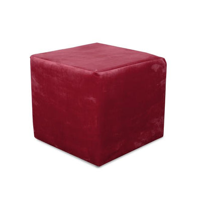 Paris Plush Velvet Fabric Cube Footstool - 2 Red Colours