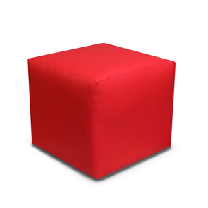 Special Offer - Paris Red Faux Leather Cube Footstool