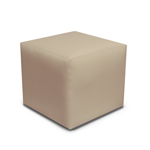 Paris Taupe Faux Leather Cube Footstool