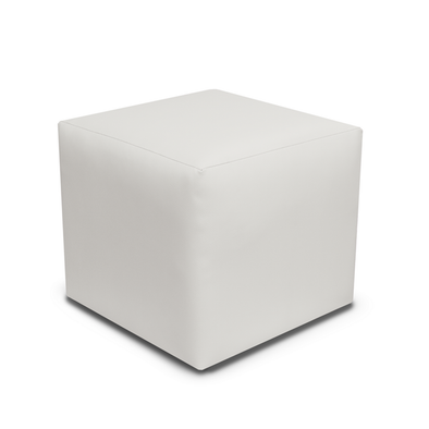 Paris White Faux Leather Cube Footstool