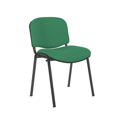Express Ellore Advantage Plain Fabric Stacking Side Chair - Black Frame - 3 Green Colours