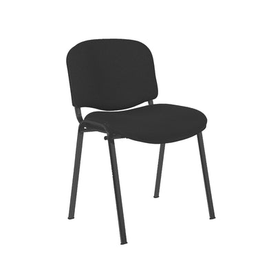 Express Ellore Advantage Black Plain Fabric Stacking Side Chair - Black Frame