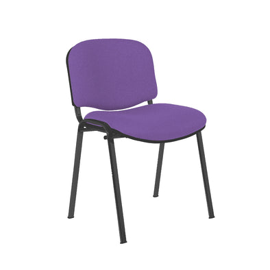 Express Ellore Advantage Plain Fabric Stacking Side Chair - Black Frame - 2 Purple Colours