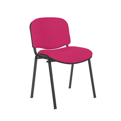 Express Ellore Advantage Raspberry Plain Fabric Stacking Side Chair - Black Frame
