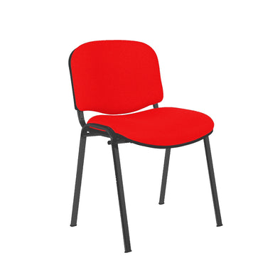 Express Ellore Advantage Plain Fabric Stacking Side Chair - Black Frame - 2 Red Colours