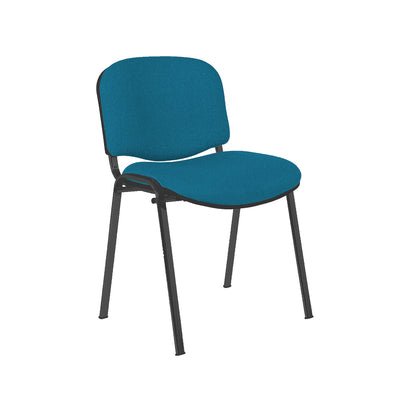 Express Ellore Advantage Plain Fabric Stacking Side Chair - Black Frame - 5 Blue Colours