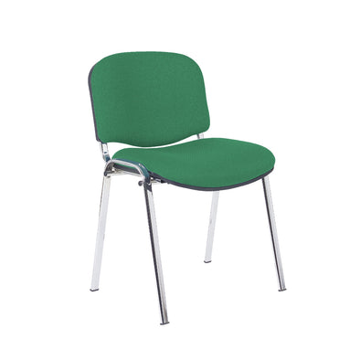 Express Ellore Advantage Plain Fabric Stacking Side Chair - Chrome Frame - 3 Green Colours