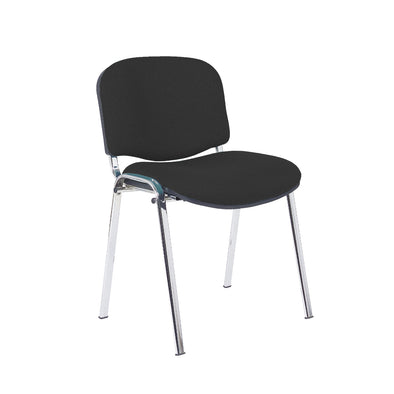 Express Ellore Advantage Black Plain Fabric Stacking Side Chair - Chrome Frame