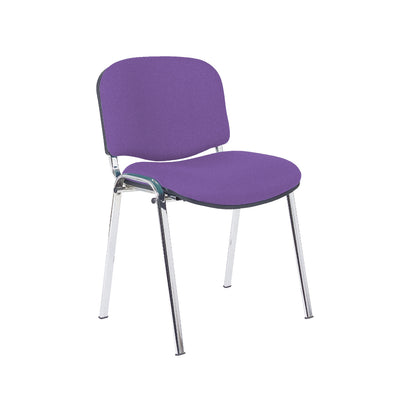 Express Ellore Advantage Plain Fabric Stacking Side Chair - Chrome Frame - 2 Purple Colours