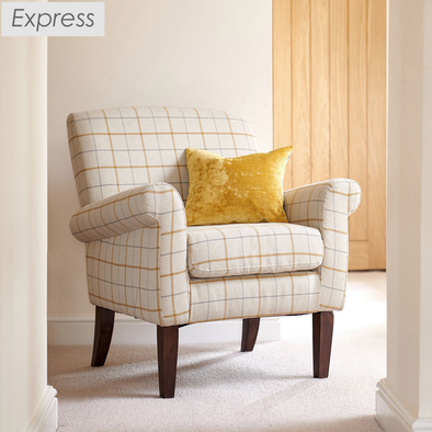 Express Hereford Butterscotch Check Fabric Accent Armchair