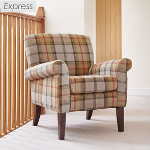 Express Hereford Canary Tartan Fabric Accent Armchair