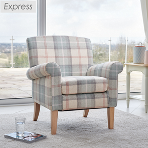 Express Hereford Peppermint Tartan Fabric Accent Armchair