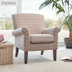 Express Hereford Violet Check Fabric Accent Armchair