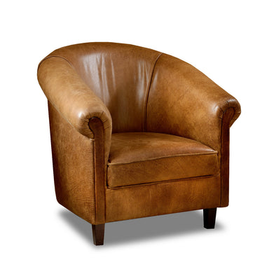 Sir Tub Chair Cerato Genuine Leather Tub Chair - 3 Brown Colours