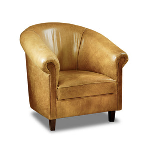 Sir Tub Chair Cerato Latte Genuine Leather Tub Chair