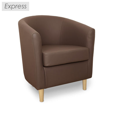 Express St Tropez Brown Faux Leather Tub Chair